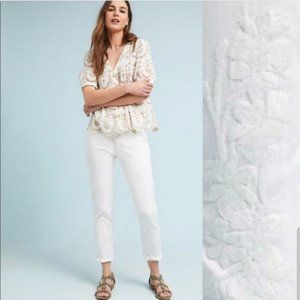NWT Anthro Relaxed Embroidered White Chino Pants